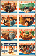 "Movie Posters:War, Sergeant York (Warner Brothers, 1941). Lobby Card Set of 8 (11"" X14"").. ... (Total: 8 Items)"
