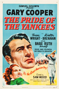 "The Pride of the Yankees (RKO, R-1949). One Sheet (27"" X 41"")"