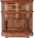 Furniture , AN ENGLISH GOTHIC-REVIVAL OAK AND WROUGHT-IRON COURT CUPBOARD, early 19th century. 56-1/4 x 51-1/4 x 19-1/2 inches (142.9 x ...