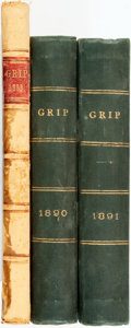 Books:Periodicals, [Cartoons]. [Bound Periodicals]. Three Bound Volumes of GripMagazine. Toronto: 1883-1891. ... (Total: 3 Items)