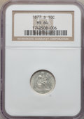 Seated Dimes: , 1877-S 10C MS64 NGC. NGC Census: (24/19). PCGS Population (27/14). Mintage: 2,340,000. Numismedia Wsl. Price for problem fr...