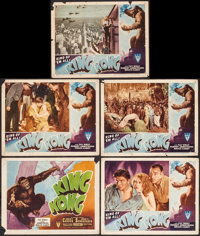 "King Kong (RKO, R-1946). Title Lobby Card & Lobby Cards (4) (11"" X 14""). Horror. ... (Total: 5 Items)"