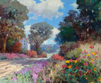 KENT R. WALLIS (American, b. 1945) Landscape with Wildflowers Oil on canvas 59 x 71 inches (149.9