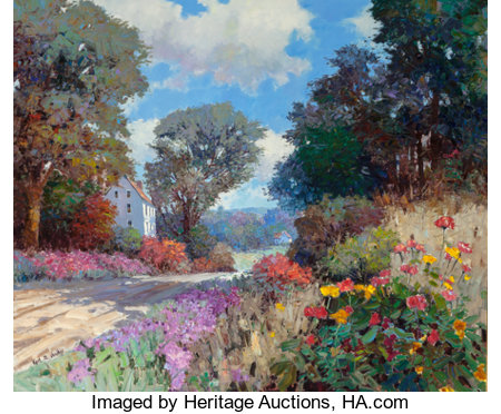 KENT R. WALLIS (American, b. 1945)Landscape with WildflowersOil on canvas59 x 71 inches (149.9 x 180.3 cm)Signed...