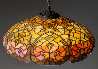 DUFFNER & KIMBERLY HANGING LEADED GLASS LAMP, Circa 1905 15 inches high x 26 inches diameter (38.1 x 66.0 cm) (sha...