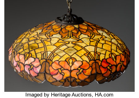 DUFFNER & KIMBERLY HANGING LEADED GLASS LAMP, Circa 1905 15 inches high x 26 inches diameter (38.1 x 66.0 cm) (shade) ... (Total: 4 Items)