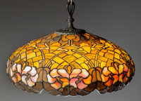 A DUFFNER & KIMBERLY HANGING LEADED GLASS LAMP, Circa 1905 15 inches high x 26 inches wide (38.1 x 66.0 cm) (shade...