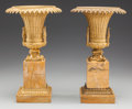 Decorative Arts, French, A PAIR OF CHARLES X GILT BRONZE AND SIENNA MARBLE URNS, circa 1800.15-1/2 inches high x 9-1/4 inches diameter (39.4 x 23.5 ... (Total:2 Items)