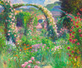 Fine Art - Painting, American:Contemporary   (1950 to present)  , Curt Walters (American, b. 1950). Rose Trellis -- Giverny,May 1990. Oil on canvas. 20 x 24 inches (50.8 x 61 cm). Signe...