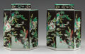 Asian:Chinese, A PAIR OF CHINESE FAMILLE NOIRE PORCELAIN HEXAGONAL TEA CADDIES.Marks: (six-character mark). 11-1/8 inches high (28.3 cm). ...(Total: 2 Items)