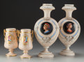 Art Glass, TWO PAIRS OF FRENCH NEOCLASSICAL PAINTED AND ENAMELED GLASS AND PORCELAIN VASES, circa 1870. 14-3/4 inches (37.5 cm) (taller... (Total: 4 Items)