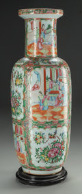 Asian:Chinese, A CHINESE FAMILLE ROSE PORCELAIN TEMPLE VASE WITH CARVED WOODSTAND. 23-1/2 inches high (59.7 cm) (without stand). PROPERT...