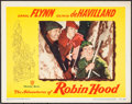 "Movie Posters:Swashbuckler, The Adventures of Robin Hood (Warner Brothers, R-1948). Lobby Card (11"" X 14"") & Trimmed One Sheet (24.75"" X 39.25""). Swashb... (Total: 2 Items)"