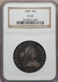 Early Half Dollars: , 1805 50C Fine 12 NGC. NGC Census: (13/231). PCGS Population(39/432). Mintage: 211,722. Numismedia Wsl. Price for problem f...