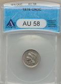 Three Cent Nickels: , 1876 3CN AU58 ANACS. NGC Census: (7/89). PCGS Population (15/130). Mintage: 160,800. Numismedia Wsl. Price for problem free...