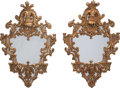 Furniture, A PAIR OF CONTINENTAL CARVED GILTWOOD MIRRORS, 19th century. 35-1/2 inches high (90.2 cm). ... (Total: 2 Items)