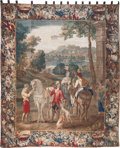 Decorative Arts, Continental, A FLEMISH BAROQUE-STYLE VERDURE FIGURAL LANDSCAPE TAPESTRY,18thcentury. 118-1/2 inches high x 99 inches wide (301.0 x 251.5...