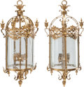 Decorative Arts, British:Lamps & Lighting, A PAIR OF GILT METAL AND ETCHED GLASS LANTERNS, 20th century. 41inches high (104.1 cm). ... (Total: 2 Items)