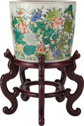 Asian:Chinese, A CHINESE FAMILLE VERTE PORCELAIN JARDINIÈRE ON A CARVED WOOD STAND. Marks: (six-character mark). 12-1/8 inches high x 14-1/... (Total: 2 Items)