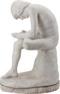 Sculpture, A MARBLE SCULPTURE AFTER PIER JACOPO ALARI-BONACOLSI: BOY REMOVING A THORN, 19th Century. 29 x 19 x 13 inches (73.7 x 48.3 x...