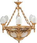 Decorative Arts, French, A BELLE EPOQUE GILT BRONZE AND FROSTED GLASS SEVEN-LIGHTCHANDELIER, circa 1900. 41 inches high (104.1 cm). ...