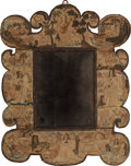 Decorative Arts, French, A FRAMED ENGLISH STUMP WORK MIRROR, circa 1640. 30-1/4 inches highx 23 inches wide (76.8 x 58.4 cm). ...