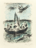 Prints, MARC CHAGALL (French/Russian, 1887-1985). Jonas' Boat, 1977. Lithograph in colors. 16-3/8 x 12-3/8 inches (41.7 x 31.5 c...