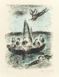 MARC CHAGALL (French/Russian, 1887-1985) Jonas' Boat, 1977 Lithograph in colors 16-3/8 x 12-3/8 i