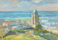 EDOUARD-LÉON CORTÈS (French, 1882-1969) Village en Normandie Gouache on paper 8-1/2 x 12 inches (