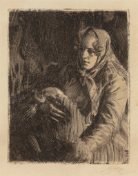 ANDERS LEONARD ZORN (Swedish, 1860-1920) A Swedish Madonna, 1900 Etching and drypoint 9-3/4 x 7-3