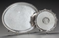 Silver Holloware, American:Trays, A GEORGIAN SILVER WAITER AND A BAILEY & CO. SILVER TRAY, circa1752-1878. Marks to small waiter: (lion passant), (crowned le...(Total: 2 Items)