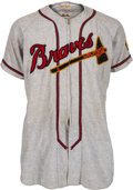 Baseball Collectibles:Uniforms, 1950 Warren Spahn Game Worn Boston Braves Jersey, MEARS A8....