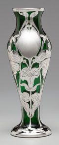 Silver Holloware, American:Vases, A LA PIERRE SILVER OVERLAY GLASS VASE, New York, New York &Newark, New Jersey, circa 1900. Marks to lip rim: L,STERLING...