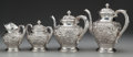 Silver Holloware, American:Tea Sets, A FOUR PIECE KIRK & SON REPOUSSÉ PATTERN SILVER TEA ANDCOFFEE SERVICE, Baltimore, Maryland, circa 1846-1861. Ma... (Total:4 Items)