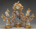 Timepieces:Clocks, A THREE PIECE LOUIS XV-STYLE GILT BRONZE AND PORCELAIN FIGURAL CLOCK GARNITURE. Marks: (pseudo Dresden mark). 27 inches high...