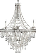 Decorative Arts, Continental, A NEOCLASSICAL ROCK CRYSTAL, CLEAR GLASS AND WROUGHT METALSIX-LIGHT CHANDELIER, 20th century. 43 inches high (109.2 cm). ...