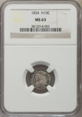 Bust Half Dimes: , 1834 H10C MS63 NGC. NGC Census: (89/188). PCGS Population (83/145). Mintage: 1,480,000. Numismedia Wsl. Price for problem f...