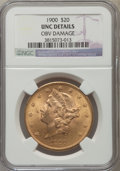 Liberty Double Eagles: , 1900 $20 -- Obverse Damaged -- NGC Details. Unc. NGC Census: (834/46618). PCGS Population (844/34720). Mintage: 1,874,584. ...