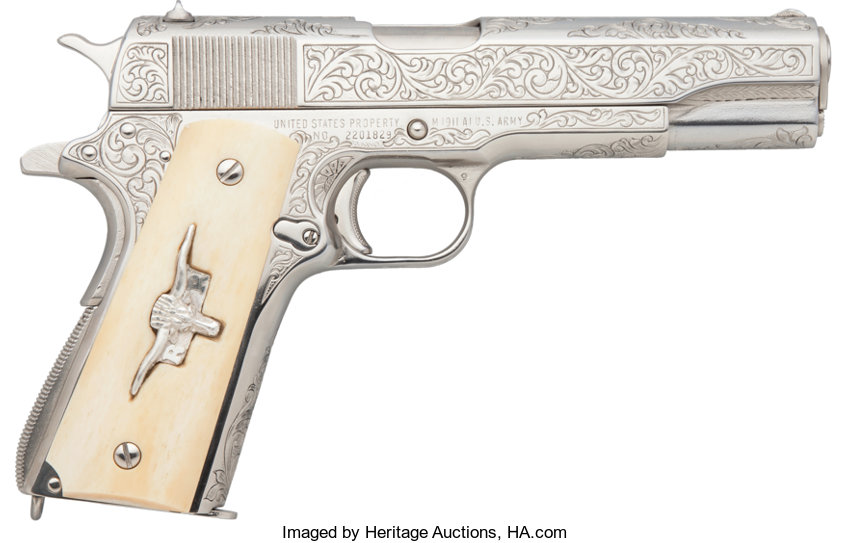 Engraved Dale Woody Remington Rand 1911 A1 Semi-Automatic