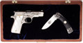 Handguns:Semiautomatic Pistol, Cased Shostle Engraved Colt Model MKIV/Series 80 Government Model Semi-Automatic Pistol with Folding Knife....