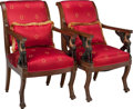 Furniture , A PAIR OF EMPIRE-STYLE UPHOLSTERED POLYCHROME WALNUT FAUTEUILS, circa 1900. 35 x 21-1/2 x 21 inches (88.9 x 54.6 x 53.3 cm)... (Total: 2 Items)