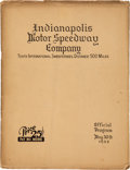 Miscellaneous Collectibles:General, 1922 Indianapolis 500 Program....