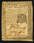 Colonial Notes:Pennsylvania, Pennsylvania April 25, 1776 2s Very Fine.. ...