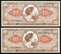Military Payment Certificates:Series 641, Series 641 $10 Two Examples Choice New.. ... (Total: 2 notes)