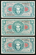 Military Payment Certificates:Series 641, Series 641 $5 Three Examples Gem New.. ... (Total: 3 notes)
