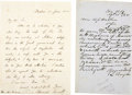 Autographs:Statesmen, Edward Everett and Linn Boyd Autograph Letters Signed. The firstbeing an ALS from Everett to a Mr. Marcy, one page, letter ...(Total: 2 Items)