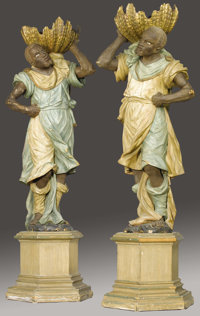 A Large Pair of Venetian Carved and Polychromed Wood Figures of Blackamoors Italian 19th Century Polychr
