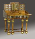 Furniture : Continental, A German Silvered Metal and Gilt Bronze Inlaid Burl Walnut Desk onStand. Unknown maker, Augsburg, Germany. Circa 1800-182...