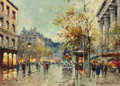 Fine Art - Painting, European:Modern  (1900 1949)  , Antoine Blanchard (French, 1910-1988). Place de laMadeleine. Oil on canvas. 13 x 18 inches (33.0 x 45.7 cm).Signed low...