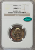 Washington Quarters: , 1958-D 25C MS67+ ★ NGC. CAC. NGC Census: (260/1). PCGS Population(140/2). Mintage: 78,124,89...